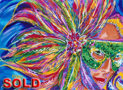 Ready to Party<br>Mardi Gras 2002 - 30x40 - SOLD