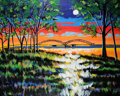 Moon Over the Memphis Bridge - ? - SOLD