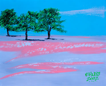 Trees in a Pink Field - 16x20 - SOLD