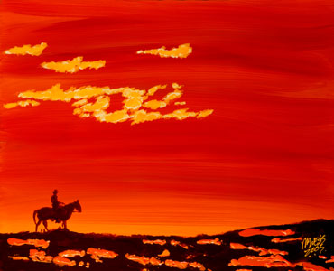 Cowboy at Sunset - 24x30 - SOLD