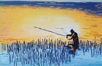 Golden Angler - 24x36 - SOLD