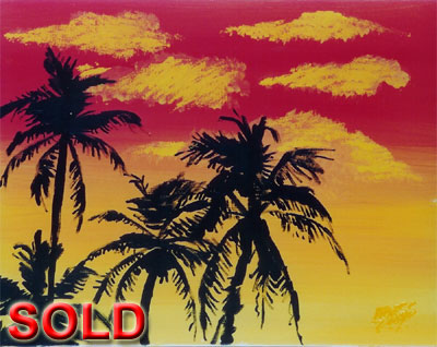 Sunset Palm - 16x20 - SOLD