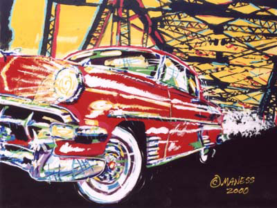54 Chevy on a Bridge - 22x28 - SOLD