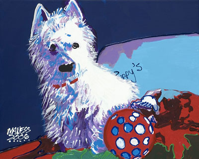 Dog with Red Ball - 16x20 - SOLD