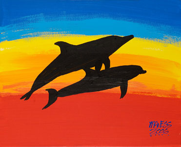 Rainbow Dolphins - 16x20 - SOLD