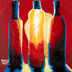 Bottles Bright - 18x18 - SOLD