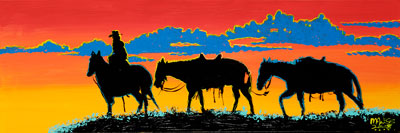 Three Horses and a Cowboy - 12x36 - SOLD