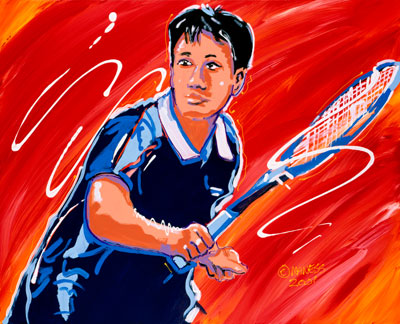 Chang Heat<br>(Michael Chang) - 24x30 - SOLD