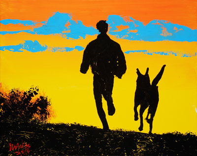 Jogging Man and Dog - 16x20 - ?