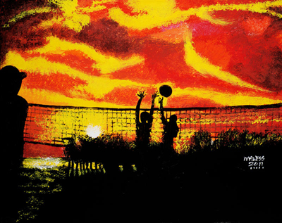 Sunset Volley Ball - 24x30 - SOLD