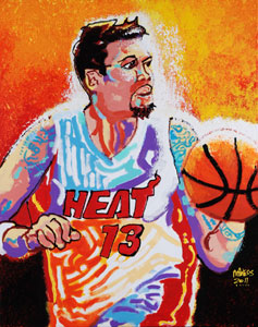 Mike Miller Miami Heat - 24x30 - SOLD