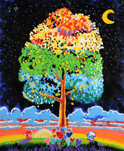 Rainbow Tree of Love - 30x36 - SOLD