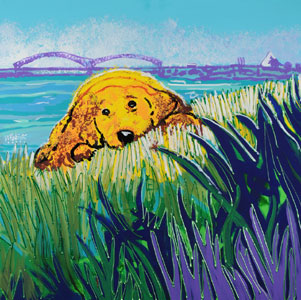 Puppy on the River - 30x30 - ?