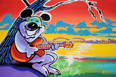 River Blues Dog - 24x36 - SOLD
