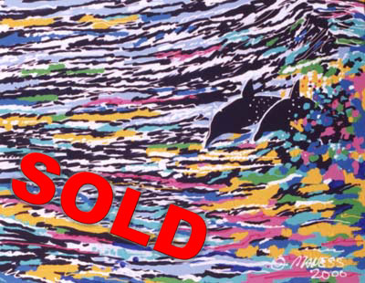 Dolphins on a Neon Sea - 24x30 - SOLD