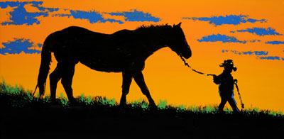 Lil' Cowboy Leads The Way - 18x36 - ?