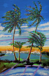 Bridge And Palm Trees - 24x30 - ?