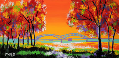Skinny Golden Bridge - 18x36 - SOLD